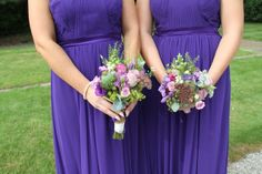 Beautifully Intimate Outdoor Wedding purple Bridesmaids Bouquets