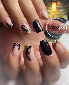 Girls Nails, Beautiful Nail Designs, Girly Girl, Nail Art, Beauty, Black Nails, Pretty Nails, Little Girl Nails, Nailed It