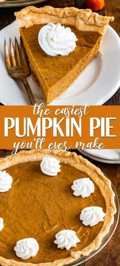 Seriously Easy Pumpkin Pie Recipe This EASY Pumpkin Pie is the best and easiest ever! It's a simple pumpkin pie recipe that's made with condensed milk and has just 6 ingredients! Basically, this is a NO FAIL pie that will be perfect every time! Dairy Free Pumpkin Pie, Best Pumpkin Pie Recipe, Pumpkin Pie Cake, Pumpkin Pecan Pie, Homemade Pumpkin Pie, Perfect Pumpkin Pie, Pumpkin Carving, Pumpkin Pie With Condensed Milk Recipe, Cake