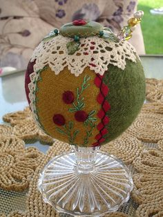 ANTIQUE STYLE PEDESTAL PIN CUSHION - VINTAGE STITCHING - closeup by Happy 2 Sew, via Flickr