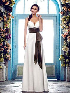 シース/列スパゲッティストラップ床長シフォンのウェディングドレス(636694)