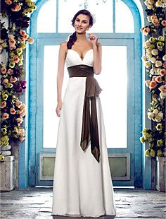 Sheath/Column Spaghetti Straps Floor-length Chiffon Wedding ... – GBP £ 83.51