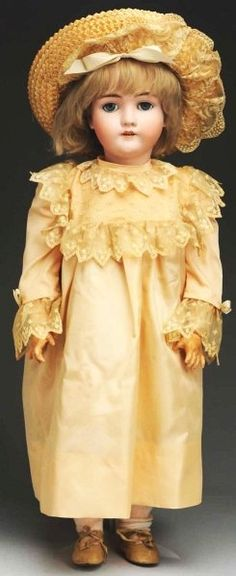 German Bisque Doll. I love all of her - that is beautiful, so hard to find materials to do now.