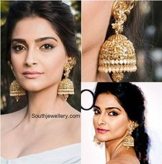 Sonam Kapoor in Antique Peacock Lakshmi Jhumkas - Indian Jewellery Designs Gold Jhumka Earrings, Gold Earrings Designs, Indian Earrings, Earings Gold, Indian Jewellery Design, Latest Jewellery, Jewelry Design, Gold Jewellery, Antic Jewellery