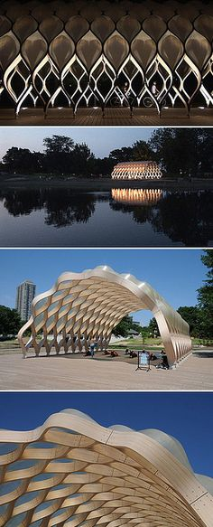 A beautiful, undulating pavilion creates an open-air space for education and entertainment in Chicago. Designed by Studio Gang.A beautiful, undulating pavilion creates an open-air space for education and entertainment in Chicago. Designed by Studio Gang. Parametric Architecture, Pavilion Architecture, Parametric Design, Sustainable Architecture, Residential Architecture, Amazing Architecture, Contemporary Architecture, Landscape Architecture, Landscape Design