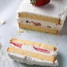 I must try and make this with allergy free cake, coconut ice cream and mango  Strawberries and Cream Ice Cream Cake recipe