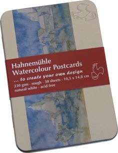 Hahnemuhle  Watercolour Postcard Pack of 30 in a metal tin. natural white, acid-free . #watercolours #paper #artistpaper #enpleinair #paintingoutdoor #artsupplies
