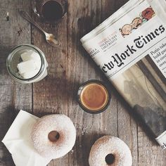 morning newspaper, coffee and donuts! photography inside the cafe Book And Coffee, Coffee Love, Coffee Break, Morning Coffee, Coffee Shop, Coffee Cups, Coffee Art, Sunday Morning, Lazy Sunday