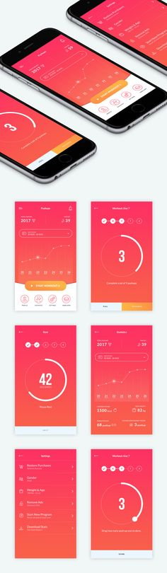 Beautiful Push-up App | 99designs I found this design's use of analogous colors to be very visually appealing. It inspires me to use the power of color scheme in my designs to attract viewers.