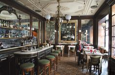 """Giacomo Bistrot (Milan) by Studio Peregalli. Deborah Needleman, """"The Man Who Cooked for Italy. And His Gorgeous Restaurants,"""" T: The New York Times Magazine (2 February 2017). Giacomo Bulleri has spent a lifetime making rustic Tuscan food in the heart of Milan — with a little help from the architect Renzo Mongiardino."""