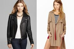 Best Winter Coats: The Layered Jacket Combo Aqua leather jacket zip-off moto sleeve, $368, bloomingdales.com; Nasty Gal Secret Admirer trench coat, $97, nastygal.com