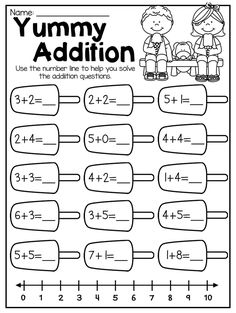 Summer addition worksheet for kindergarten. This Summer Kindergarten Math and Literacy Worksheet Pack is perfect for the end of year. It features 58 NO PREP worksheets. The packet includes a number of diverse activities relating to beginning sounds, short vowels, long vowels, CVC words, alphabet work, syllables, number comparison, counting, tallying, number sense, addition, subtraction, place value, shapes and so much more!!