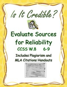 Help students evaluate Web and print resources for reliability by answering Middle School Writing, Middle School Teachers, Writing A Bibliography, Avoiding Plagiarism, Research Sources, Information Literacy, Writing Assignments, Teaching Writing, Critical Thinking