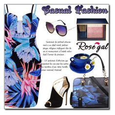 """""""Print Dress by Rosegal 42/II"""" by esma178 ❤ liked on Polyvore featuring Estée Lauder and Jimmy Choo"""