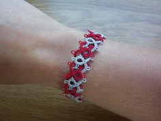 Ohio State Buckeye tatted woven bracelet by MamaTats on Etsy, $14.00