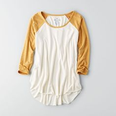 AE Soft & Sexy Baseball T-Shirt ($30) ❤ liked on Polyvore featuring tops, t-shirts, yellow, white baseball tee, baseball tshirt, raglan baseball t shirt, sexy t shirts and scoop neck t shirt