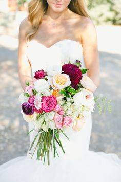 The flowers in this wedding will blow you away! #Bouquet -- Floral Design: GroDesigns.com Read More: http://www.stylemepretty.com/california-weddings/2015/03/21/romantic-al-fresco-sonoma-wedding/ Photography: http://www.onelove-photo.com