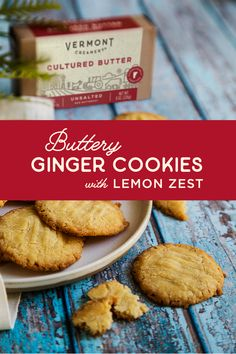 These thin and crispy buttery ginger cookies with lemon zest are a decadent treat.  Double the recipe and share as a homemade gift for friends and family.  Since the butter is the star of this show, use the best quality available.   Crinkle Cookies, Brownie Cookies, Cookie Desserts, Just Desserts, Cookie Recipes, Dessert Recipes, Ginger Cookies, Sugar Cookies, Lavender Shortbread