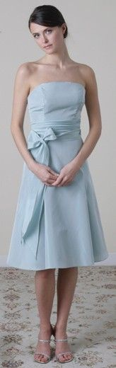 Light Blue Strapless Knee length Sashes Bridesmaid Dress...of course jackets would be worn with strapless :)