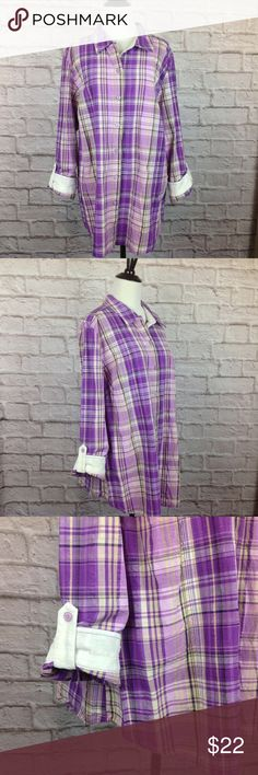 Christopher Banks Top Women 1X Purple Plaid Button Great Condition;  Christopher Banks Top Women 1X Purple Plaid Button Down Shirt Adjust Tab Sleeve; Purple Plaid with Purple Metallic Thread 98/2 Cotton/Other White Textured Polka Dot Flip Cuffs 28.5 inch length 9 inch split tail 24 inch across bust Christopher & Banks Tops Button Down Shirts