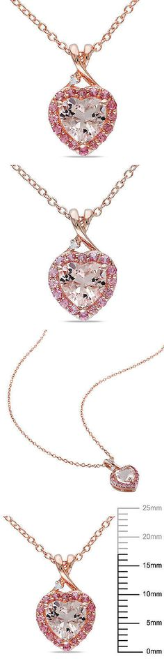 Gemstone 164332: Pink Sterling Silver Morganite Tourmaline And Diamond Heart Pendant Necklace 18 -> BUY IT NOW ONLY: $189.46 on eBay!