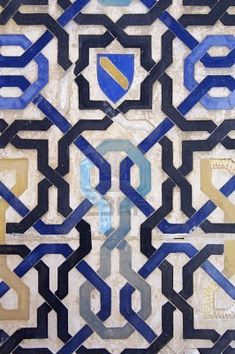 closeup of a ceramic tile in the Alhambra Palace, Granada, Andalusia, Spain Islamic Patterns, Tile Patterns, Textures Patterns, Islamic Tiles, Islamic Art, Tile Art, Mosaic Tiles, Arabic Pattern, Spanish Tile