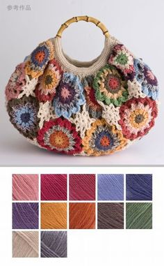 Color Inspiration :: Pretty flowers bag, Japanese site (pattern not free) Great colors! Crochet Art, Crochet Granny, Crochet Crafts, Crochet Stitches, Crochet Hooks, Crochet Projects, Crochet Patterns, Bag Patterns, Crochet Handbags