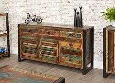 Urban Chic Large Sideboard  is made using reclaimed wood, salvaged from old buildings in places such as Gujarat, Maharashtra and Rajasthan Southern India. #Furniture #PriceCrashFurniture #LoungeAndLiving #Lounge #LivingRoom #Urban #Chic #Sideboard #Oak http://pricecrashfurniture.co.uk/urban-chic-large-sideboard.html