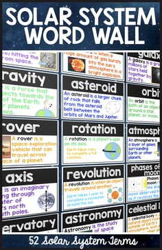 Visual Solar System Word Wall! Perfect resource for solar system vocabulary…