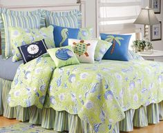C & F Enterprises Green Shells Quilt Set by C & F Enterprises, don't include all those little pillows. Nautical Bedding, Beach Bedding, Coastal Bedding, Nautical Quilt, Coastal Bedrooms, Luxury Bedding, Beach Bedrooms, Beach Quilt, Tropical Bedding