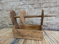 Antique 1800s Wooden Spinning Box ~ Vintage Primitive Seamstress Tool 3673