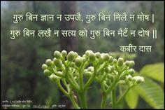 गुरु बिन ज्ञान न उपजै, गुरु बिन मिलै न मोष। गुरु बिन लखै न सत्य को गुरु बिन मैटैं न दोष।| ~कबीर Kabir