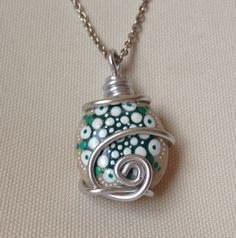 Unique Mandala Necklace Green Stone Pebble by CreateAndCherish