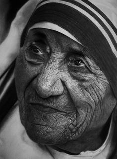 Realistic Portrait Drawing Mother Teresa by Kelvin Okafor - This is not a photograph, it is an incredible detailed pencil and charcoal drawing. Just amazing!