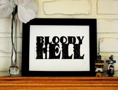 Linocut Print Bloody Hell Quote  Black on White  8 by CursiveArts, $18.00