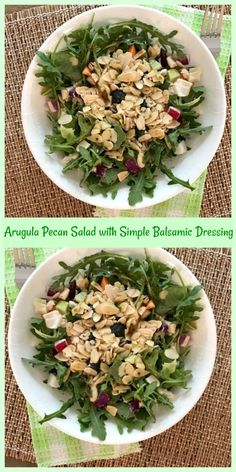Arugula Pecan Salad with Simple Balsamic Dressing - Pams Daily Dish Healthy Eating Recipes, Paleo Recipes, Cooking Recipes, Oven Recipes, Easy Cooking, Easy Dinner Recipes, Great Recipes, Whole Food Recipes, Easy Recipes