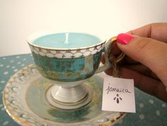 Small Tea Cup Candle Jamaica Scented Teel blue by TrinketsDelRay, $16.99