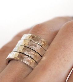 Sterling Silver Hammered Rings, Set of 4 by Lumo on Scoutmob Shoppe