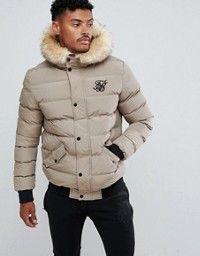 Siksilk Siksilk Puffer Jacket With Faux Fur Hood In Khaki We
