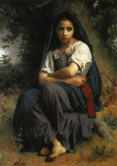 At The Fountain, 1897 by William-Adolphe Bouguereau. Realism. genre painting. Private Collection