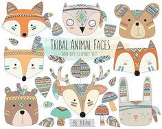 Stammes-Tiergesichtern Clipart niedliche Clip von KennaSatoDesigns