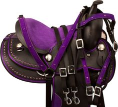 "Check out this adorable purple pony saddle! Model 9896P comes in sizes 12-13""…"