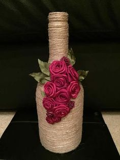 Custom hand painted/designed decorative wine bottle for centerpieces in home decor, vases, or to an extra touch of color in the room Glass Bottle Crafts, Wine Bottle Art, Painted Wine Bottles, Diy Bottle, Wrapped Wine Bottles, Twine Wine Bottles, Bottle Centerpieces, Wine Decor, Bottle Painting