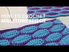 HOW TO CROCHET, MILLSTONE STITCH. Learn how to crochet this gorgeous and simple graduated stitch pattern. Full written instructions in UK and US terminology are available here: . Outro Music: Nirvana is by Siddhartha on the Free Music Archive Crochet Books, Crochet Crafts, Easy Crochet, Free Crochet, Baby Blanket Crochet, Crochet Baby, Knit Crochet, Crochet Granny, Crochet Stitches Patterns