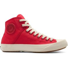 PF Flyers Women's Sumfun Hi Athletic ($65) ❤ liked on Polyvore featuring shoes, sneakers, red, studded lace-up wedge sneakers, red high tops, hi top wedge sneakers, red wedge shoes and high top sneakers