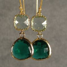 Teal and gold earrings from Etsy