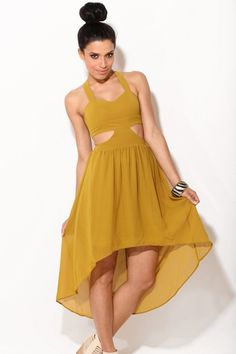 Yellow high low dress