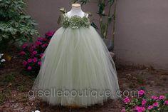 Flower Girl TuTu Dress.  Sage Green  TuTu Dress. Wedding. Birthday. Available in any size.