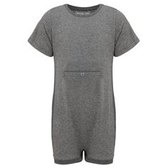 KayCey SUPER SOFT Bodysuit - Short Sleeve with Tube Access - GREY | http://specialkids.company/