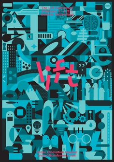 The graphical idea behind the poster for the #Lift15 conference is the representation of society's layers, all brought back on the same philosophical plane.